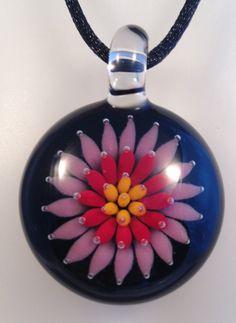 Starburst Pendant, Boro Hand Blown Glass, #16 Purple and Red by AspenHotGlass on Etsy