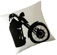 Harley Motorcycle silk screened cotton throw pillow