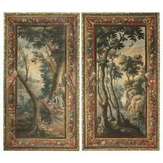 18th Century, Pair of Casein Painted Wall Coverings