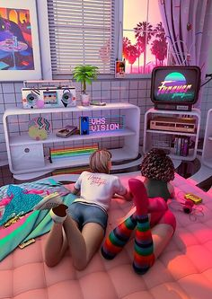 Rewind That VHS! Denny Busyet Dreamlike artwork inspired by / Aesthetic Nostalgia Fueled by Synthwave Room Ideas Bedroom, Bedroom Themes, Bedroom Decor, Retro Aesthetic, Aesthetic Room Decor, Retro Room, The Sims, My New Room, Room Inspiration