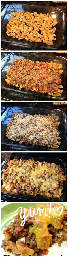 An easy taco casserole with your choice of ground meat.    Ingredients   1 lb hamburger meat  1 bag Fritos  1 can Rotel  1 can chili beans  ...