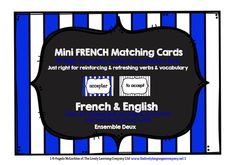 Mini FRENCH Matching Game Cards - 99 High-frequency French & English Verbs - ENSEMBLE DEUX...
