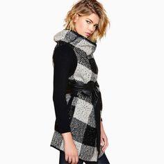 Mujeres chaleco a cuadros para el otoño invierno gruesa botones PU de cuero  negro compruebe lana 21a66a9c0805