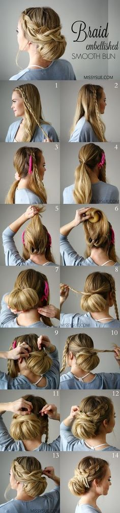Check out this unique braid embellished smooth bun tutorial!Tips To Instantly Make Your Hair Look Thicker - How To: Pull-Through BraidBraid Embellished Smooth Bun Easy Braid Hairstyle - DIY Products, Step By Step Tutorials, And Tips And Tricks For Ha Braided Hairstyles, Wedding Hairstyles, Holiday Hairstyles, Updo Hairstyle, Braided Updo, Hairstyle Ideas, Hairstyle Tutorials, Ponytail Haircut, Quinceanera Hairstyles