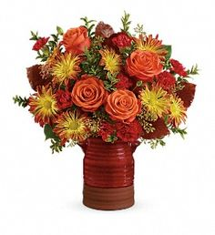 Heirloom Crock Bouquet - Celebrate the season with this lush bouquet of fall blooms, beautifully hand-arranged in a hand-glazed, keepsake kitchen crock that's a gift in and of itself! Fast Flowers, Lemon Leaves, Memorial Flowers, Beautiful Red Roses, Fall Arrangements, Carnations, Chrysanthemums, Seeded Eucalyptus, Same Day Flower Delivery