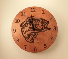 Bass laser cut clock Fish clock Wood clock by BunBunWoodworking