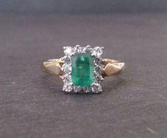 Handmade Emerald Engagement Ring, Emerald and Diamond Stone Gold Ring, Gold Emerald Ring ……………………………………………………………….  {Emerald}  The emerald has long