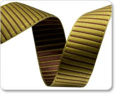 Lime and Brown Striped Satin Ribbon