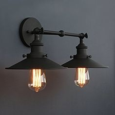 Phansthy Vintage Industrial 2-Light Wall Sconce 8.7 Inch Flared Sconce Light