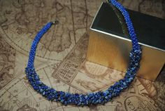 Lapis lazuli necklace. Blue seed beads. Stone necklace. by NioNia