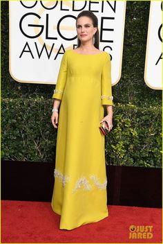 Natalie Portman in a Prada dress, Jimmy Choo shoes, a Tomansino clutch, and Tiffany & Co. jewelry.