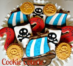 Pirate Themed Decorated Cookies Birthday Party Cookie Favors Jake and the Neverland Pirates cookies by CookieCoterie, $29.00