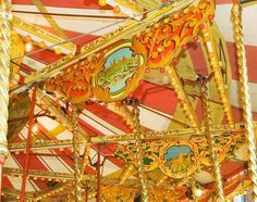 """Noyce Gallopers Painted droppers  Painted """"droppers"""" hang from the 12 swifts(sweeps) of the ride."""