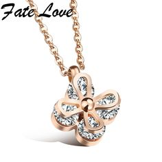 Stainless Steel Necklace Flower Pendant Inlaid Clear Cubic Ziconia Women Silver  Rose Gold Elegant New Fashion Jewelry Gift Chain 690822ecb71e