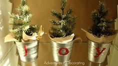 IKEA pots, burlap and darling little trees.