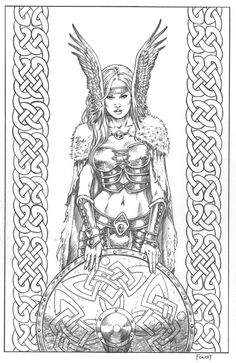 Sheild Maiden By MitchFoustdeviantart On DeviantArt Colouring SheetsColouring Pages