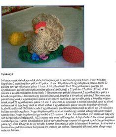 horgolt_tyukocska minta_ Crochet Birds, Easter Crochet, Free Crochet, Knitted Dolls, Teddy Bear, Kids Rugs, Knitting, Animals, Amigurumi