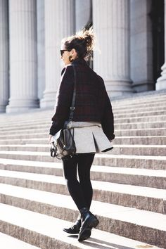 GRey_Skirt-Plaid_Jacket-Chain_Boots-Outfit-street_Style-8