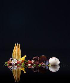 Tomato, Balloon of Mozzarella and Many Complimentary Flavors at Alinea in Chicago, Illinois. Chef Grant Achatz.