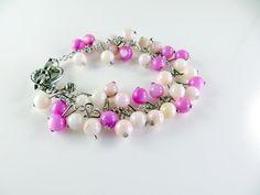 Little Girls pink beaded cha cha bracelet. $10.00, via Etsy.