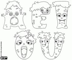 Free The five vowels of the monsters's alphabet. The letters A, E, I, O and U are funny monsters to coloring coloring and printable page.