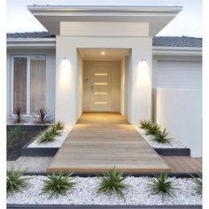 Front Yard Decor, Modern Front Yard, Front Yard Ideas, Front Yard Walkway, Modern Driveway, Front Yard Design, Modern Fence, Modern Landscape Design, House Landscape