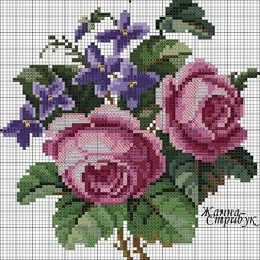 Roses and violets chart Counted Cross Stitch Patterns, Cross Stitch Charts, Cross Stitch Designs, Cross Stitch Embroidery, Embroidery Patterns, Hand Embroidery, Cross Stitch Rose, Cross Stitch Flowers, Pixel Crochet