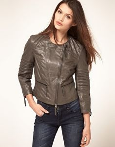 ASOS collarless leather biker jacket - I am not a leather jacket kind of girl but I am obsessed with this in this grey shade - amazing and unexpected and kind of badass!