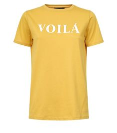 Mustard Voilá Slogan T-Shirt | New Look