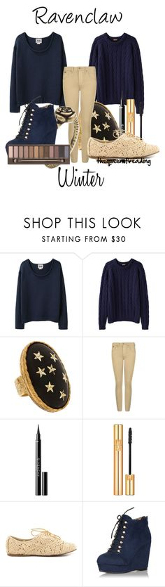 """""""Ravenclaw Winter"""" by thequeenofreading ❤ liked on Polyvore featuring Acne Studios, Peter Jensen, Allison Daniel, Burberry, Givenchy, Yves Saint Laurent, JustFab and Urban Decay"""