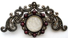 Sterling Silver Garnet Marcasite Brooch Carved Mother of Pearl Wreath Vintage   eBay