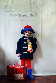 Need a last-minute no-sew Halloween kids' costume? We've got it covered with this adorable Paddington bear. It's super-easy to put together and beary cute! Easy Book Week Costumes, Story Book Costumes, Diy Girls Costumes, Storybook Character Costumes, Movie Character Costumes, World Book Day Costumes, Easy Costumes, Costume Ideas, Halloween Books
