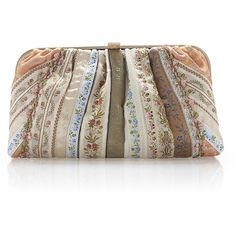 Etro Peach Haberdashery Ribbon Metal Framed Clutch (39.135 ARS) ❤ liked on Polyvore featuring bags, handbags, clutches, etro, ribbon purse, brown hand bags, brown purse and etro handbags