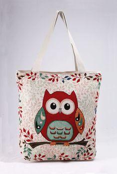 Υφασμάτινη τσάντα Κουκουβάγια.  Κωδ. 718.002, Τηλ. 2510 241726 Owl Canvas, Canvas Tote Bags, Diaper Bag, Reusable Tote Bags, Beige, Size 16, Cotton, Animals, Closure