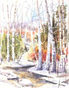Trees in Forest: Watercolor by Ian Bird Watercolor Trees, Watercolor Sketch, Watercolor Landscape, Watercolor Illustration, Watercolor Paintings, Watercolours, Watercolor Pictures, Winter Painting, Italian Artist