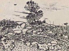 Vincent van Gogh: Rocks with Oak Tree  Arles: c. 17 July 1888 (Zurich, Collection Mrs. M. Feilchenfeldt)