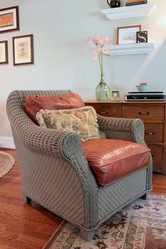 Painted wicker chair in family room