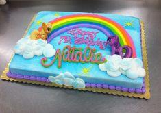 Little Pony Rainbow Sheet cake by Stephanie Dillon, Hy-Vee Birthday Sheet Cakes, Birthday Cake Girls, 4th Birthday, Birthday Ideas, My Little Pony Party, My Little Pony Cupcakes, Rainbow Dash Cake, Rainbow Colors, Cakes By Stephanie