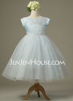 Flower Girl Dresses - $113.29 - A-Line/Princess Scoop Neck Floor-Length Satin  Tulle Flower Girl Dresses With Lace (010007729) http://jenjenhouse.com/A-line-Princess-Scoop-Neck-Floor-length-Satin--Tulle-Flower-Girl-Dresses-With-Lace-010007729-g7729