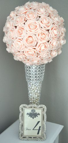 PINK BLUSH Kissing Ball. Wedding Centerpiece. by KimeeKouture