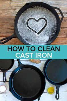 Learn the secrets to Removing Rust From Cast Iron without chemicals or harsh treatments. You'll also learn how to season, use, and LOVE cast iron skillets and dutch ovens. Cast iron is a wonderful non-toxic cooking tool that should be in every kitchen! Deep Cleaning Tips, House Cleaning Tips, Diy Cleaning Products, Cleaning Hacks, Cleaning Solutions, Cleaning Cast Iron Pans, Cast Iron Cooking, Skillet Cooking, How To Clean Rust