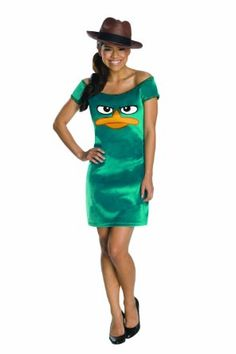 Amazon.com: Phineas and Ferb Teen Sassy Agent Set with Hat, Green, Teen Standard: Clothing