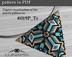 Peyote triangle patterns, pattern for triangle pendant, peyote patterns, beading, peyote stitch, digital file, pdf pattern #019P_Tr