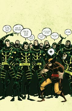 Multiple Man egging on Wolverine by Skottie Young