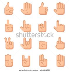 Hand gestures flat signs. Vector human gesture for communication, illustration set of gestures with hand