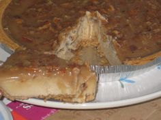 Tofu cheesecake with a gooey caramel pecan topping