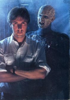 "Clive Barker with Pinhead on the ""Hellraiser"" set ."