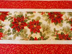 Elegant Christmas Table Runner With Pointsettias Quilted Topper Quilt Noel Gold Metallic Red Green