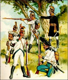 Austrian; Infantry 1805. Lto R Three fusiliers of German Line Regts, a grenadier of a Hungarian Line Regt and a officer of Fusiliers in a German Regiment.by L & F Funken.