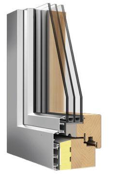 IV68-HA TERMOSCUDO  PERFIL de MADERA-ALUMINIO / Sección de hoja = 114,5 x 80 mm / Capacidad para el vidrio = 45 a 75 mm de espesor / Máximo aislamiento acústico Rw = NPD / Máximo aislamiento térmico Uw = 0,70 W/m²K / Máxima clasificación energética de la ventana = ORO